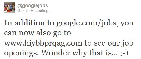 Tweet de Google Jobs sobre hiybbprqag.com